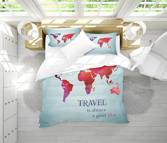 40 best wanderlust watercolor abstract boho world map duvet cover world map bedding watercolor map duvet cover set travel map gumiabroncs Choice Image