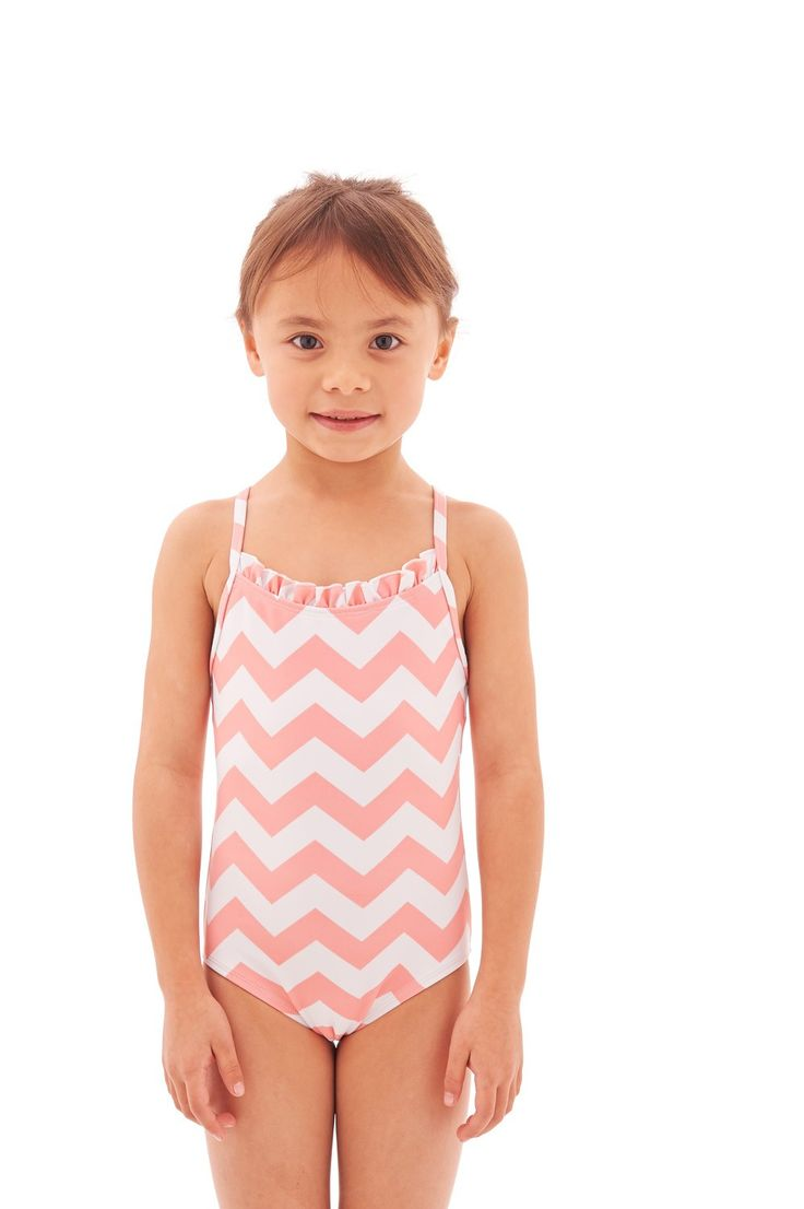 Kids Ruffle Neck Swimsuit Little Girl Fashion