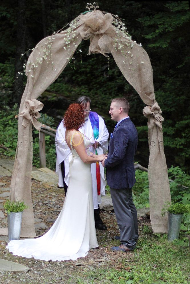 Mara and Adam Keith Wedding, photo by: brianne JOY photography  Burlap wedding arch from hobby lobby. Outdoor wedding arch.