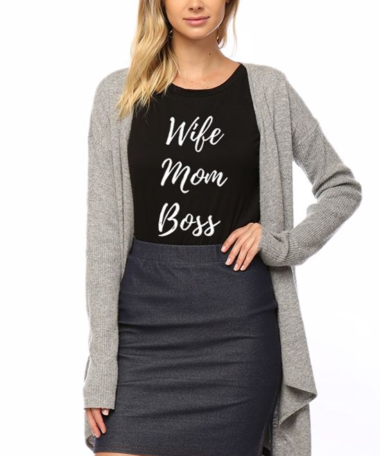 Black 'Wife Mom Boss' Swing Tee
