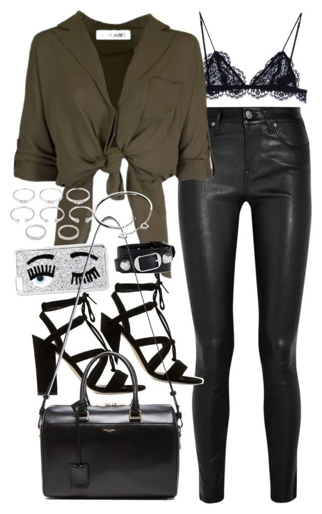 """Outfit with leather trousers for a night out"" by ferned ❤ liked on Polyvore featuring Isabel Marant, Helmut Lang, Dune, Chiara Ferragni, Balenciaga, Yves Saint Laurent, Forever 21 and Cartier"