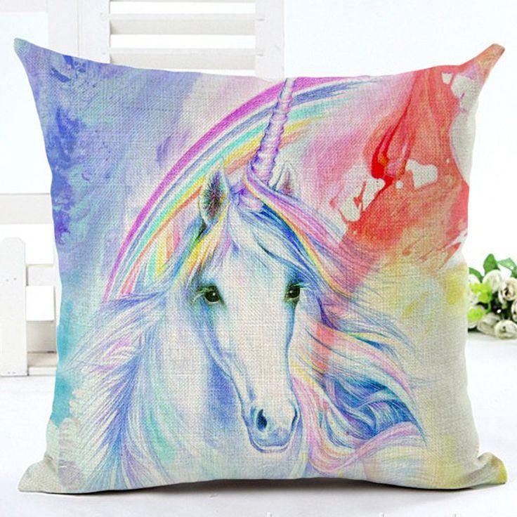 Beautiful watercolour Unicorn cushion covers by NixieNooDesigns on Etsy