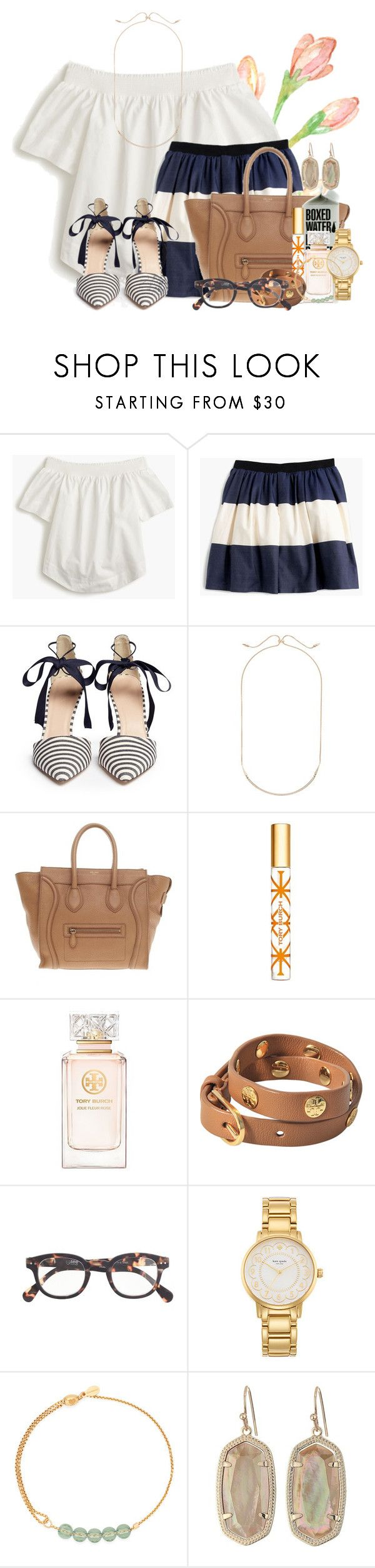 """J is for J crew"" by flroasburn ❤ liked on Polyvore featuring J.Crew, Kendra Scott, CÉLINE, Tory Burch, Kate Spade and Alex and Ani"