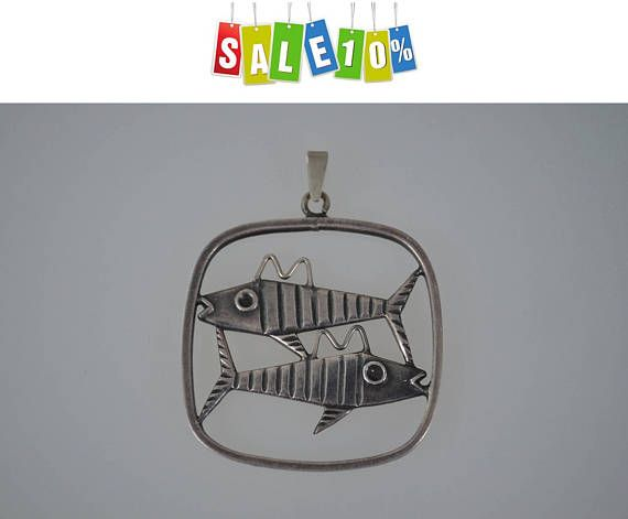 "Modernist pendant ""Fishes"" vintage jewelry, 1960s"