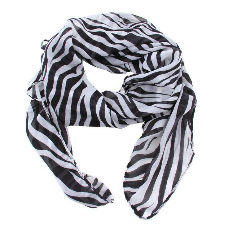 NEW Fashion Trendy Long Zebra Printed Chiffon Scarf Women Girls shawl Soft Smooth