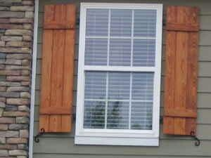 Cypress stained shutters shutters by diversified for Board and batten shutter plans