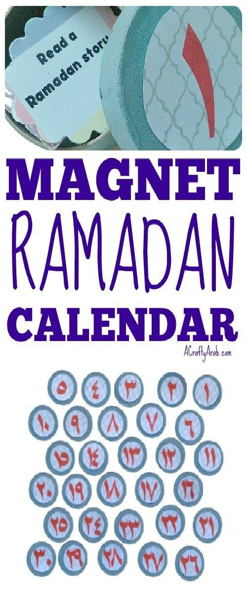 A Crafty Arab: Magnet Ramadan Countdown Calendar {Tutorial}. Made as part of our Ramadan crafts 30 day challenge, Ramadan countdown calendars are a great way to help younger children understand the concept that a month of fasting lasts 30 days. There are many Muslim parents that create Ramadan calendars that take the form of a large rectangular shape with 30 slots, one for each day of the month.  These slots can reveal a phrase or a small gift, such as a toy or a chocolate item, and are…