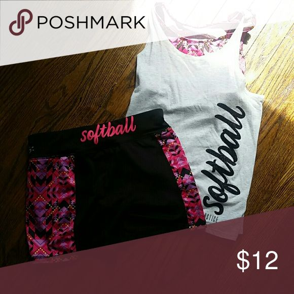 Softball outfit Top has sports bra insert bottoms are spandex Justice Shirts & Tops Tank Tops