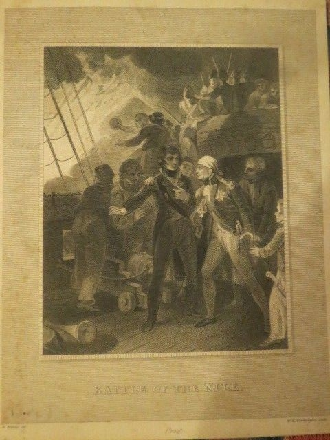 Antique 1808 engraving Proof W.Bromley W.H Worthington sculp  Battle of the Nile