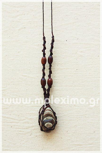 macrame stone pendant