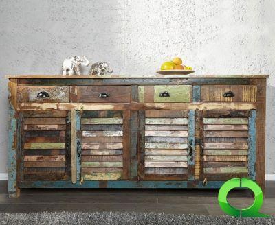 Sideboard SEBU 180cm farbig aus recycelten Boots Holz , Maße Breite in cm (ca.):      180 Maße Tiefe in cm (ca.):      45 Maße Höhe in cm (ca.):      100 Anzahl Türen / Schubladen:      4 Varianten Türen / Laden:      Klapptüren Fuß / Gestell:      Recyceltes Massivholz Material:      Massivholz Farbe:      bunt vintage Verwendung / Art:      Sideboard Vormontiert:      ja Besonderheiten:      in Handarbeit gefertigt  Bei Qubo - Design