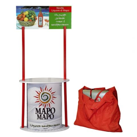 Corner shop, tavolini promozionale durevole in polipropilene con borsa per trasporto.