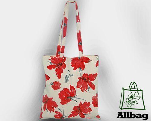 Torebka na ramię torba bawełniana ekologiczna w MAKI fullprint długi uchwyt
