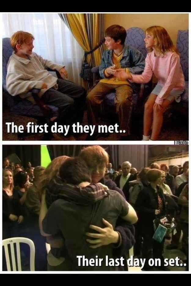 "Seeing how close the three became from 10 years of filming. | 29 Times Tumblr Made ""Harry Potter"" Fans Cry All Over Again"