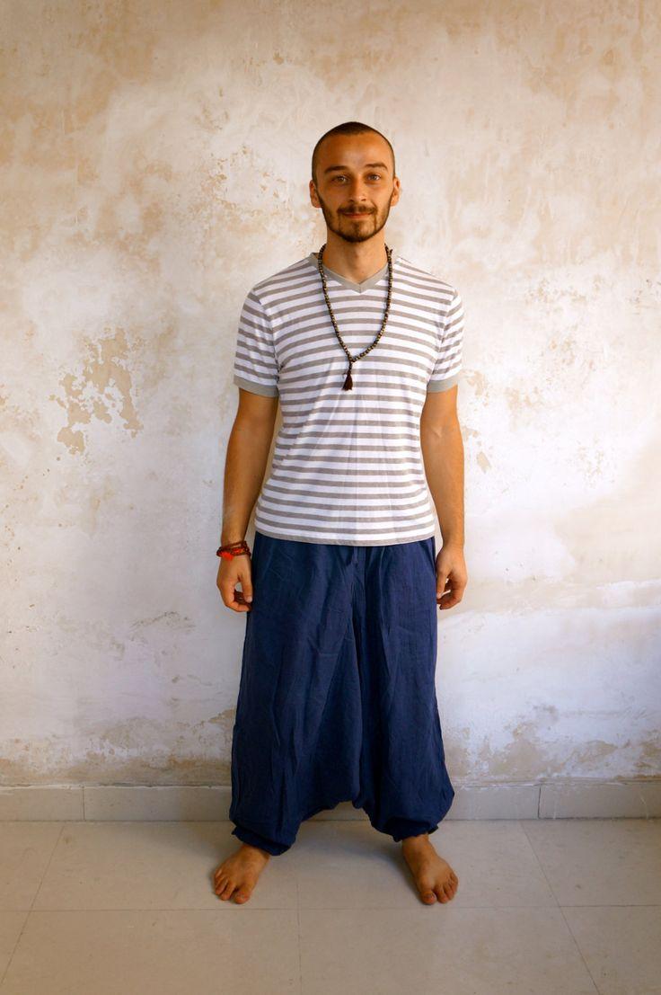 Blue Harem Pants with pockets, 100% Khadi Cotton, Afghani Trousers, Loose fit, Drop Crotch, Baggy, Wide leg, Unisex Yoga Pants, alladin by YogapactShop on Etsy