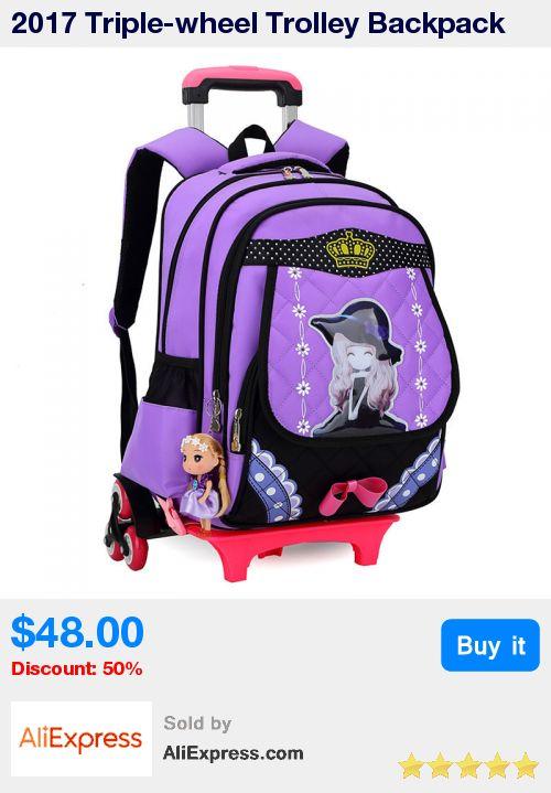 2017 Triple-wheel Trolley Backpack For Children Fashion School Bag Detachable Backpack For Girls wheeled bag Mochila Infantil  * Pub Date: 17:08 Sep 22 2017