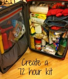 72 hour kit  - container ideas and max weight chart by age