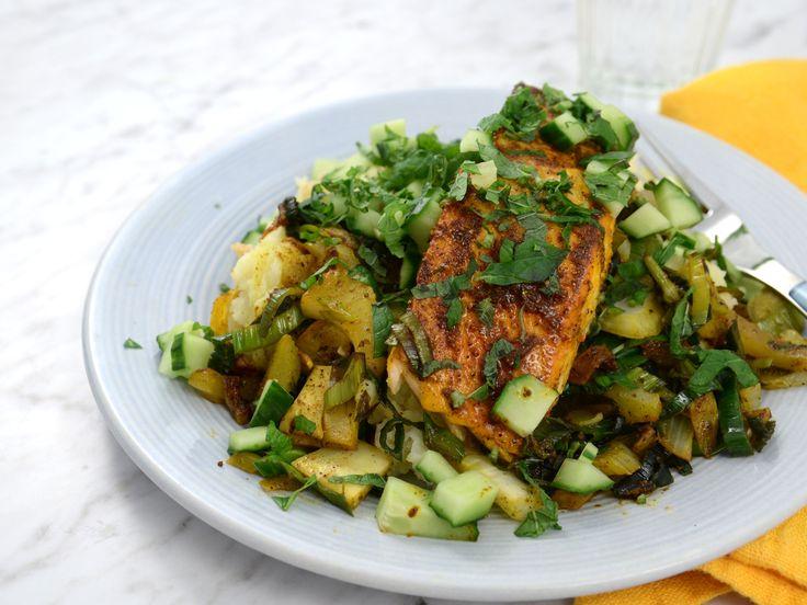 Saffranslax med fänkål och potatisstomp   Recept från Köket.se