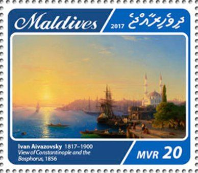 """Stamp: """"View of Constantinople and the Bosphorus"""", 1856 (Maldives) (200th anniversary of Ivan Aivazovsky) Mi:MV 6859"""