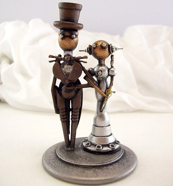 Small or CUPCAKE Elegant Robots Wood Wedding Cake Topper Space Princess Bride and Groom Top Hat Tails on Etsy, $159.00