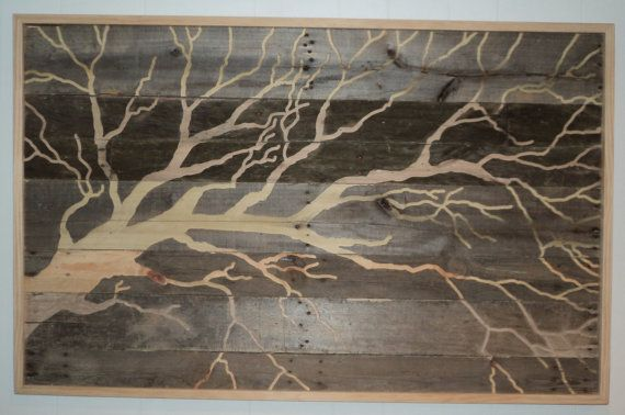 Large indoor outdoor rustic tree pallet wood wall art 4 Reclaimed wood wall art for sale