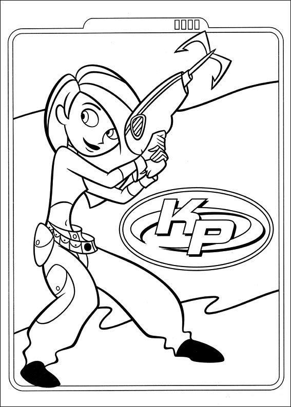 Kim Possible Fargelegging for barn. Tegninger for utskrift og fargelegging nº 3