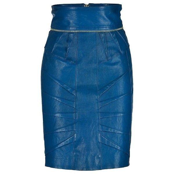 Matthew Williamson Blu Pencil Leather Skirt