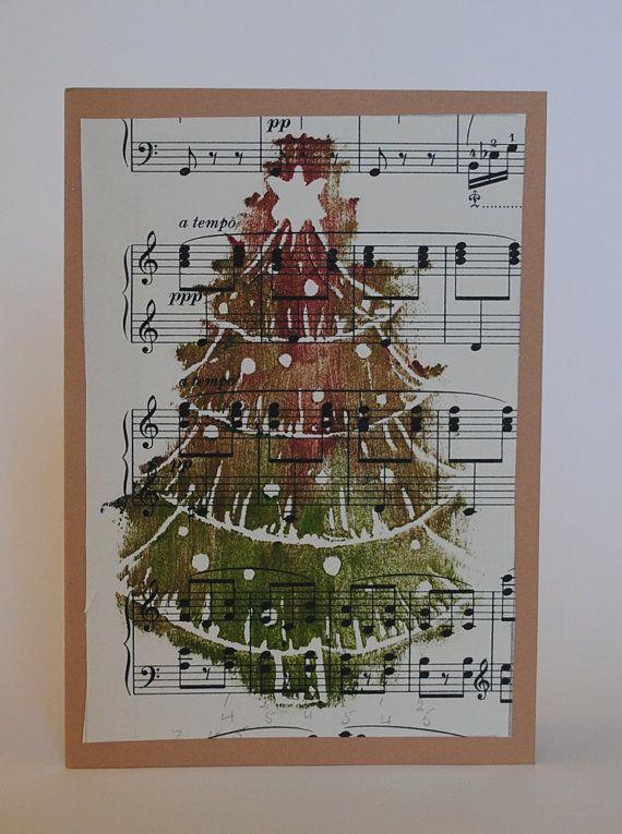 Handmade Hand Printed Vintage Sheet Music Christmas Tree Card on Etsy, £3.69