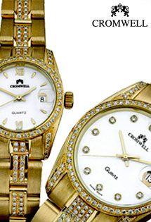 Relojes de oro de 18 K. de la marca Cromwell. Mecanismo suizos. Modelos para caballero y señora. Este modelo tiene diamantes en talla brillante engastados por el armis y caja del reloj.
