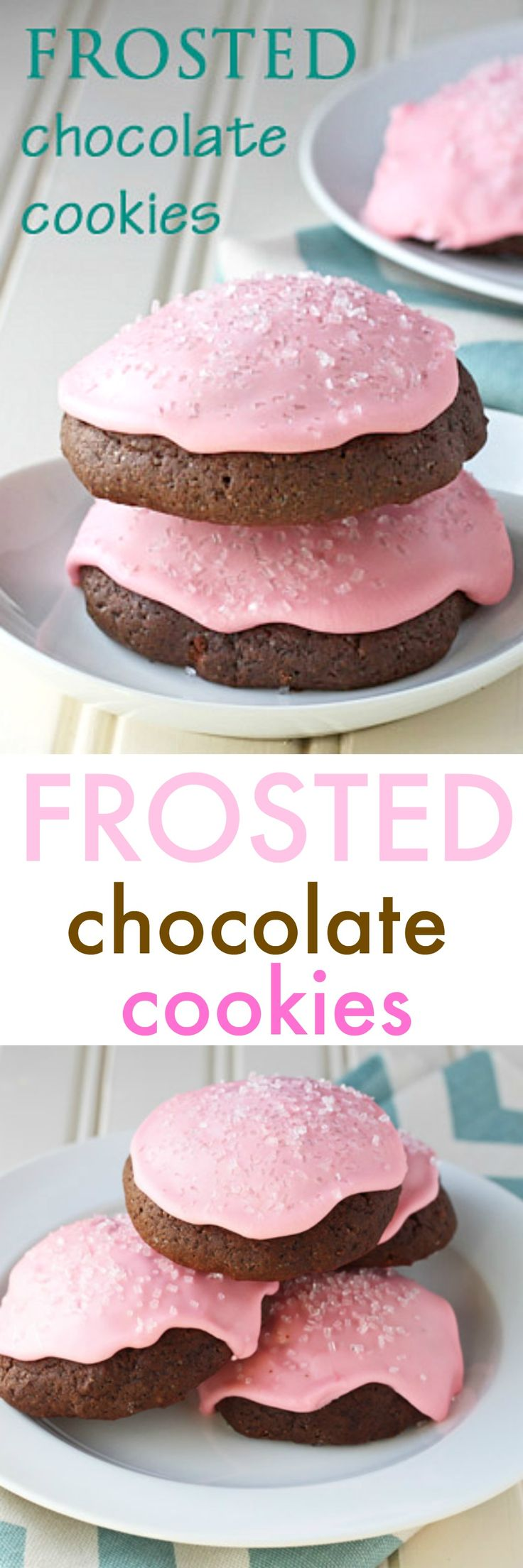 Valentine's Day pink cookies: pink frosting chocolate cookies. Soft, cake cookies with loads of pink frosting and sprinkles! @dessertfortwo