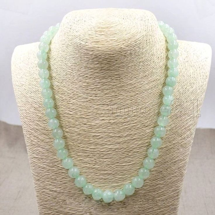 10mm Light Green 100% Natural A JADE JADEITE Round Beads Necklace 18'' AAA+ #Unbranded #StrandString