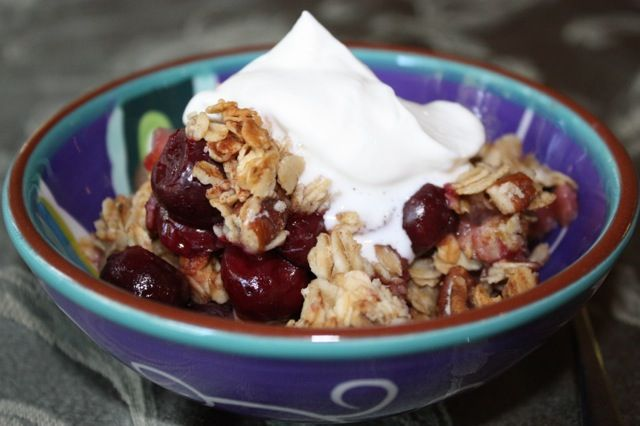 Cherry Pear and Pecan Breakfast Crumble | Lingonberry Lane | Pinterest