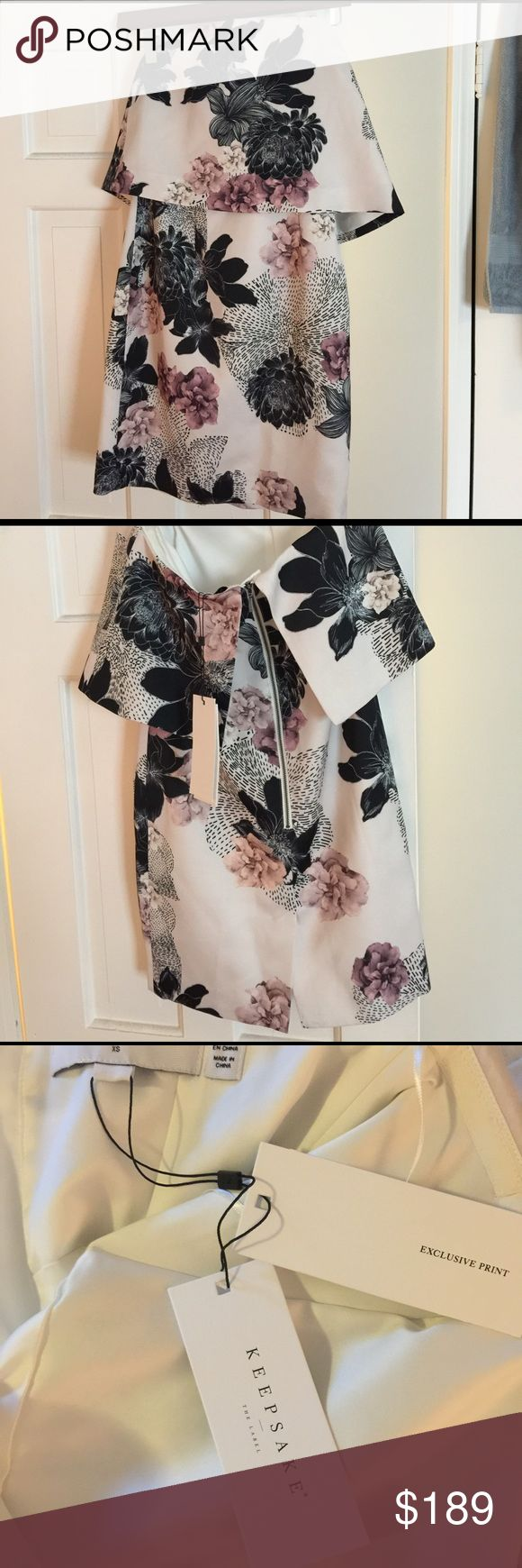 """Keepsake the label """"keep watch"""" dress New with tags - keepsake the label """"keep watch"""" dress. Strapless with layered top. Ivory with exclusive floral pattern. Exposed zipper in the back. KEEPSAKE the Label Dresses Strapless"""