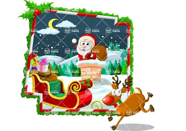 Christmas illustration with Santa, a chimney, a deer and a sleigh. Magical colorful holiday  vector cartoon, very easy to use and include in your projects. #Christmas #night #joy #Santa