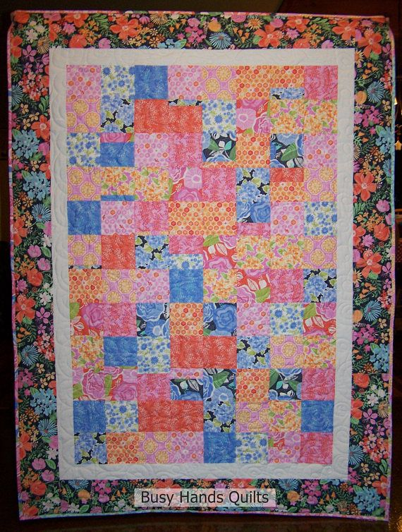Handmade Lap Quilt, Gift For Her, Floral Blanket, Patchwork Quilt, Modern Lap Quilt, Homemade Quilt, Quilts For Sale, Ready to Ship
