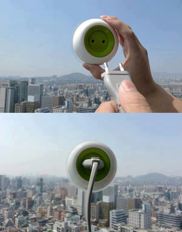 Solar powered window socket! Has a converter. Can be used in the car, airplane, outside, etc. Awesome!