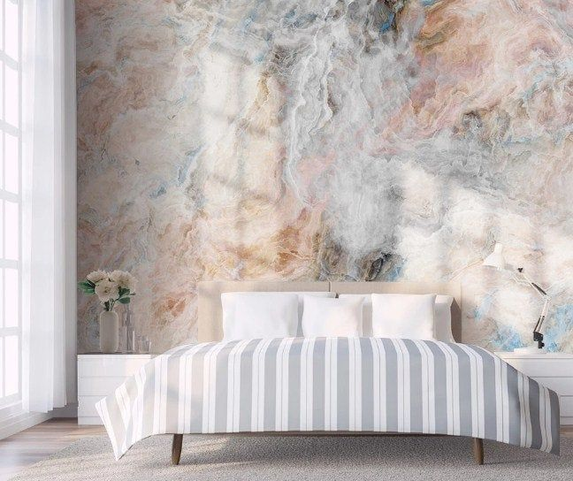 Natural Cracked Marble Wallpaper Mural Scandinavian Style Etsy Marble Wallpaper Marble Wall Mural Wallpaper Living Room