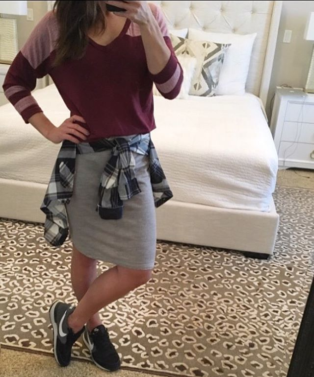 It's Fri-yay... so it's sporty-casual for me today! You guys these baseball tees are incredible! Wear them with jeans, sweats or even skirts! The olive color is adorable too! And of course I have on my sweatshirt skirtAnd then just a pop of plaid #socomfy #seriouslythough #sportyoutfit