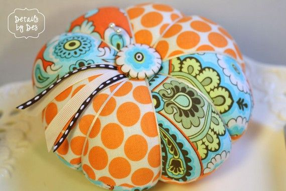 "Limited Orange Wallpaper and Tangerine Moon Dots Amy Butler Pinnie 5"" Large Pin Cushion"