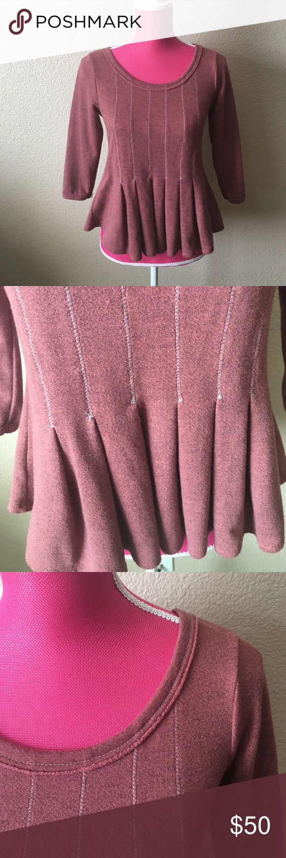 Anthropologie Saturday/Sunday Red Peplum Top Adorable top with some great details. Burnt red. Feels like a soft but thin sweater. Does have some flaws but overall excellent condition. 3/4th sleeves. Round neck. Offers welcome through offer tab. No trades. 10221171701 Anthropologie Tops Sweatshirts & Hoodies