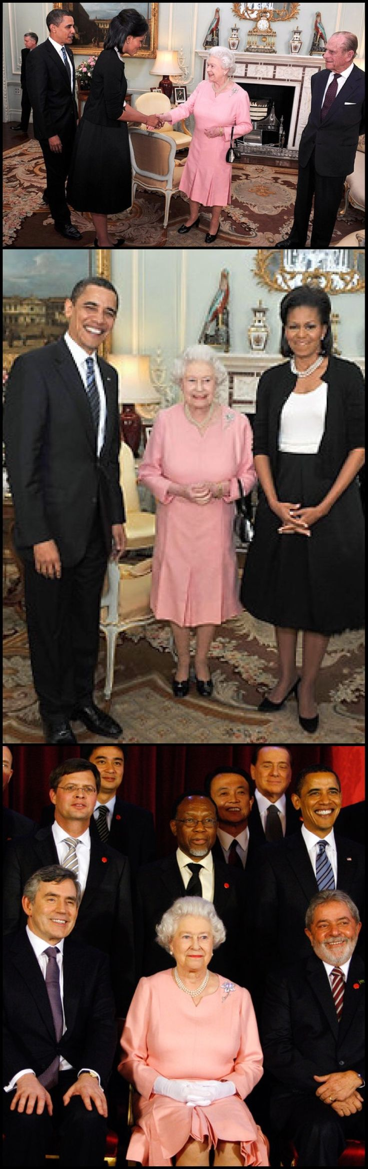 First Visit 2009 44th President Barack Obama and his wife  First Lady Michelle Obama meet with Queen Elizabeth II and Prince Philip Duke of Edinburgh during an audience at Buckingham Palace on April 1, 2009 in London, England