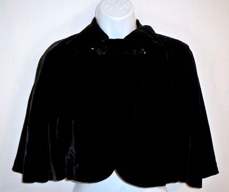 Vintage B. Altman 5th Ave NY Sumptuous Black Velvet 2 Button Capelet Cape Wrap #BAltman #Capelet #Vintage