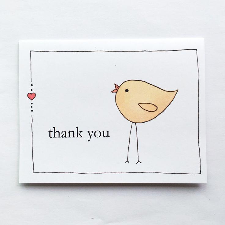 Thank You Bird Card by Xangelle on Etsy https://www.etsy.com/ca/listing/385206896/thank-you-bird-card