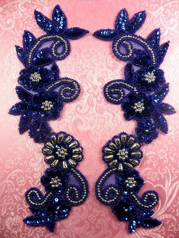 """0183 Royal Blue Silver Mirror Pair Sequin Beaded Appliques 10"""" (0183-rbsl2). When you want intricate beadwork but are lazy to do it yourself, go with the appliques!"""