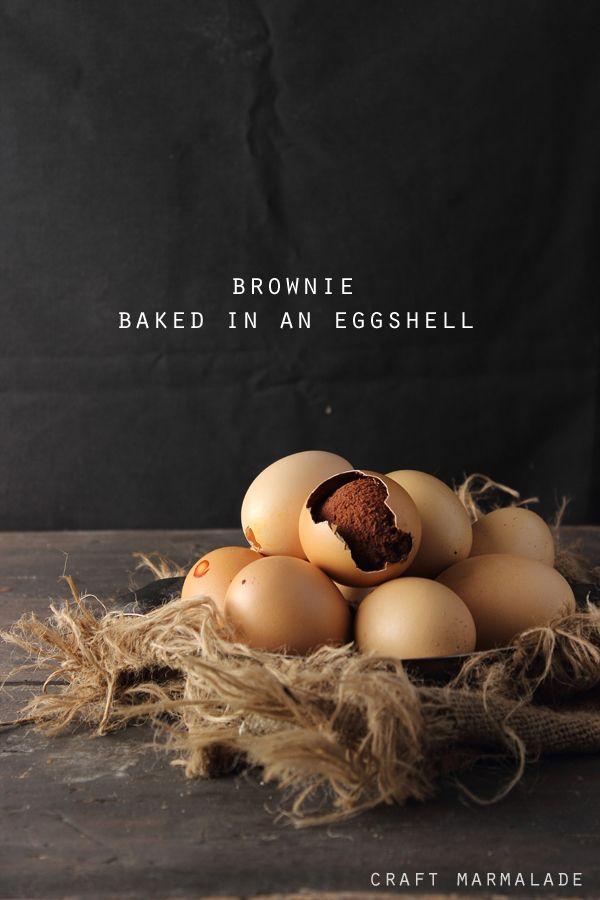 Brownies en cáscaras de huevo
