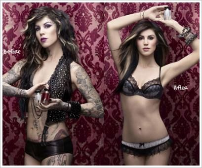 Kat Von D has created a conceler for women with tattoos. It can be used for work, weddings, etc. Its amazing what it can do. I personally think she's gorgeous with or without them!