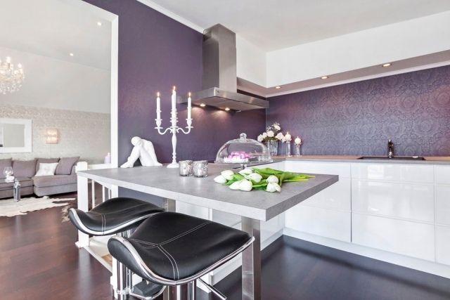 Leicht schimmernde Luxus-Tapeten für Küchenwände-Ideen für Farben-weiß Lila