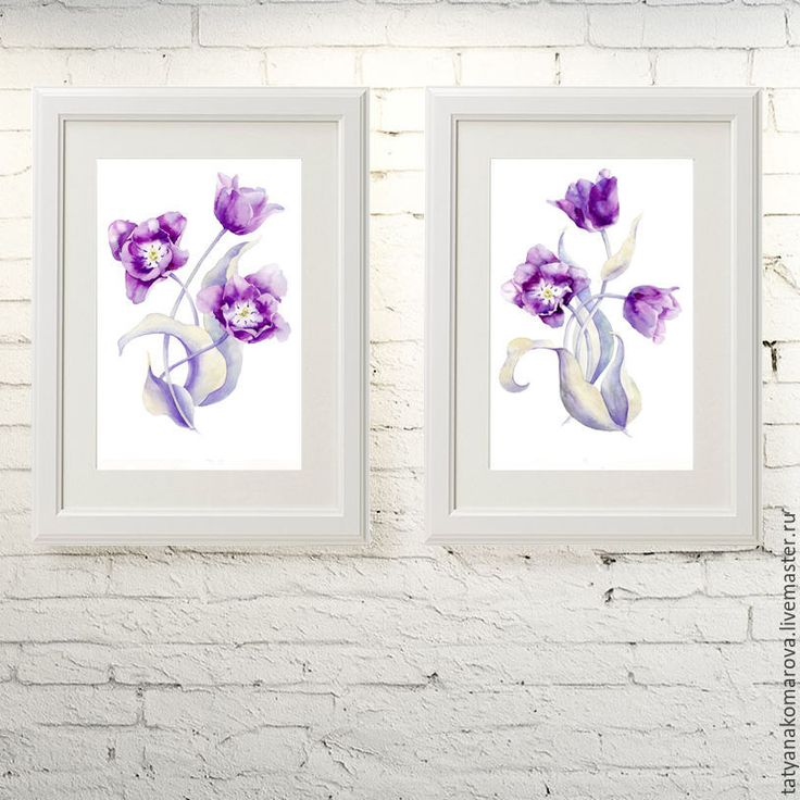 """Купить Пара акварельных картин """"Тюльпаны"""" - сиреневый, картина, картина в подарок, картина для интерьера"""