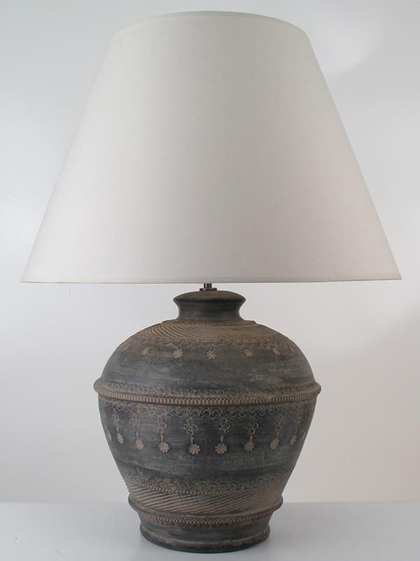 Giant Pichit Pottery Table Lamp In Graphite Amiska Lamps Handcrafted Lamp Table Lamp Lamp