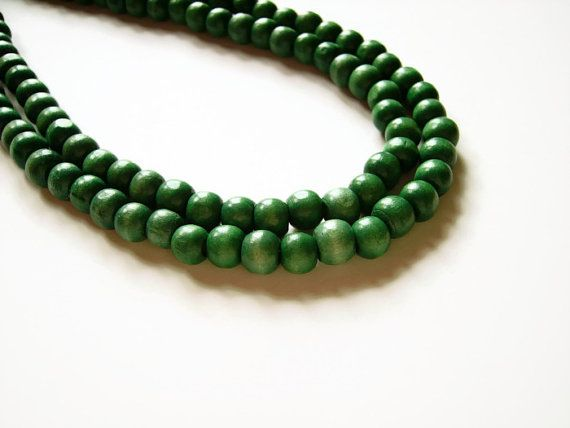 Large green beaded necklace by AellaJewelry, $22.00